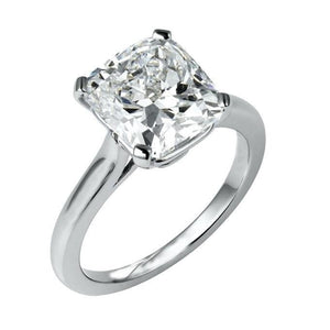 White Gold 14K Big Prong Set Cushion Cut Solitaire 3.00 Carat Diamond Ring Solitaire Ring