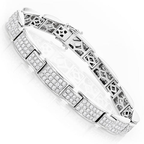 White Gold 14K Brilliant Cut 9.85 Ct Diamonds Men'S Link Bracelet Mens Bracelet