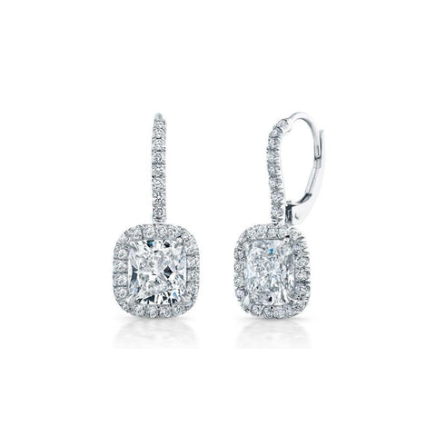 White Gold 14K Cushion And Round Cut 3.10 Carats Diamonds Dangle Earrings Dangle Earrings