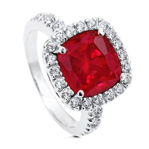 White Gold 14K Cushion Ruby And Round Cut Diamonds Ring Gemstone Ring