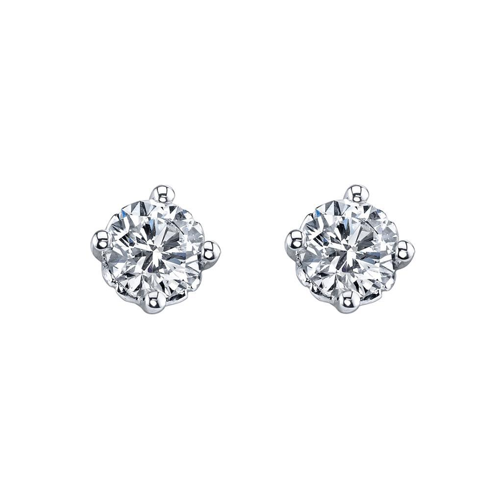 White Gold 14K Diamonds Ladies Studs Earrings 3 Carats Round Cut New Stud Earrings