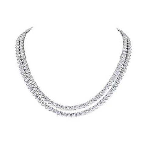 White Gold 14K Double Round Cut 38.00 Carats Diamonds Lady Necklace Necklace