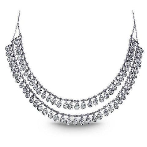White Gold 14K Double Row 20 Carats Diamonds New Women Necklace Necklace