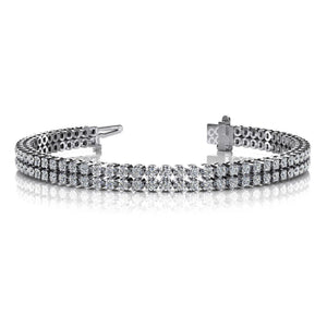 White Gold 14K Double Row Round Cut 12.00 Carats Diamonds Bracelet Tennis Bracelet