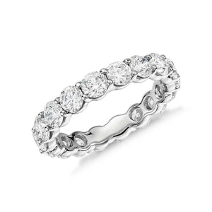 White Gold 14K Engagement Band Ring Round 4.00 Carats Diamond Eternity Band