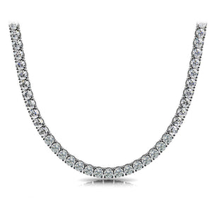 White Gold 14K Four Prong Setting Round 19Ct  Diamond Ladies Tennis Necklace Necklace