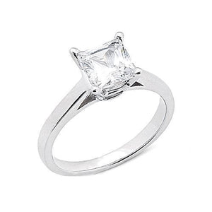 White Gold 14K G Si1 Princess Cut 2.01 Carat Diamond Ring Ring