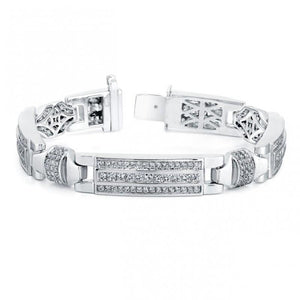 White Gold 14K Gorgeous Round Cut 10 Carats Men Diamond Bracelet Mens Bracelet