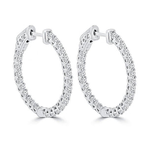White Gold 14K Gorgeous Round Cut 3.5 Ct Diamonds Hoop Earrings New Hoop Earrings