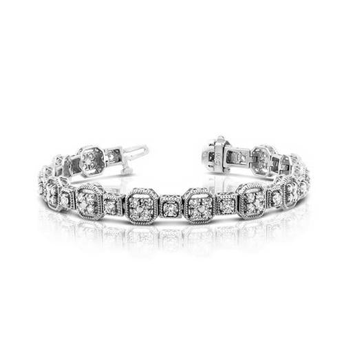 White Gold 14K Jewelry Tennis Bracelet Round Diamonds 5 Carats Tennis Bracelet