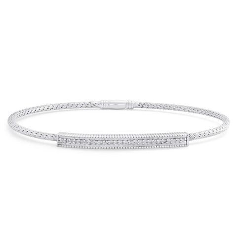White Gold 14K Ladies Bangle Bracelet 2 Carats Small Round Diamonds Bangle