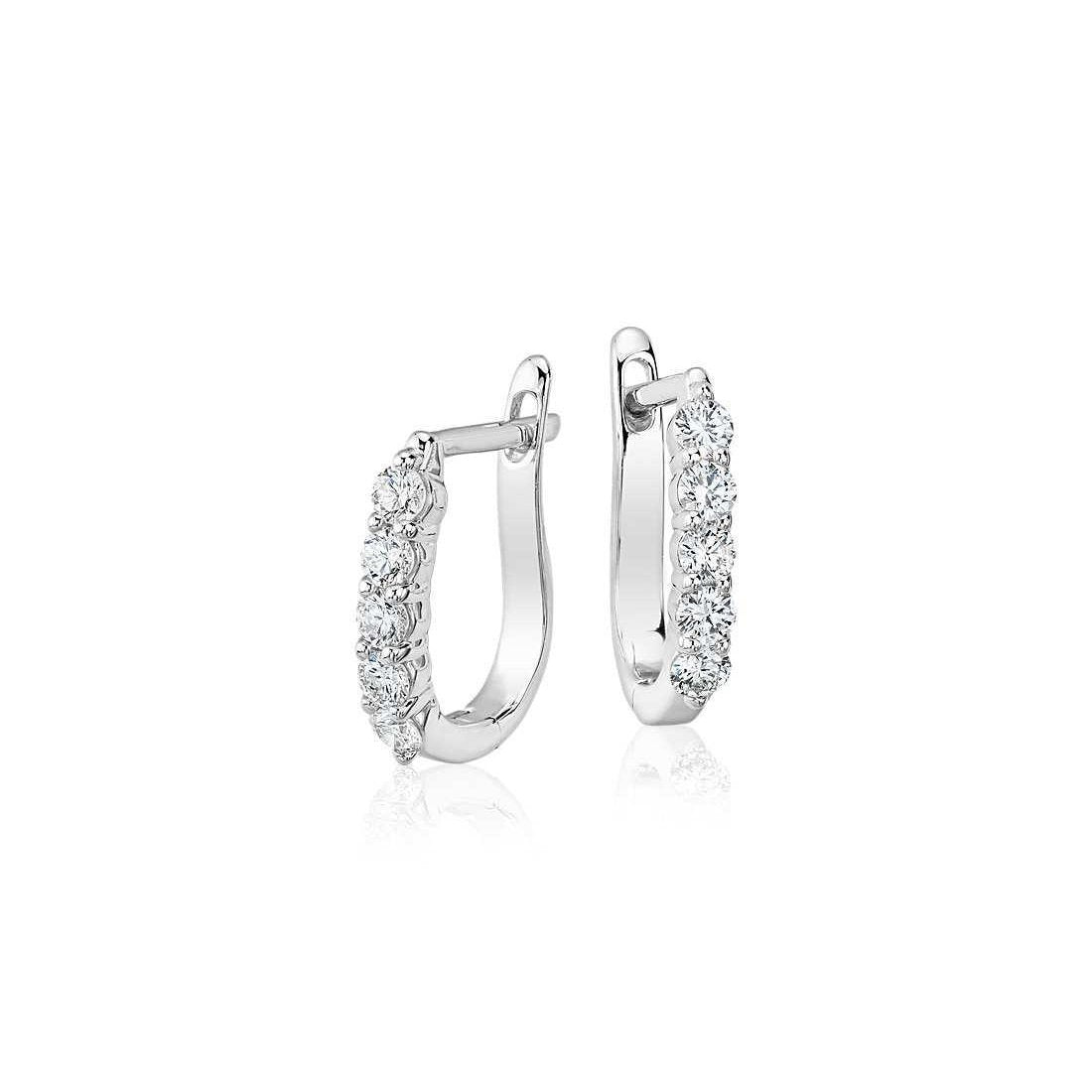 White Gold 14K Ladies Hoop Earrings 2 Ct Round Brilliant Cut Diamonds Hoop Earrings