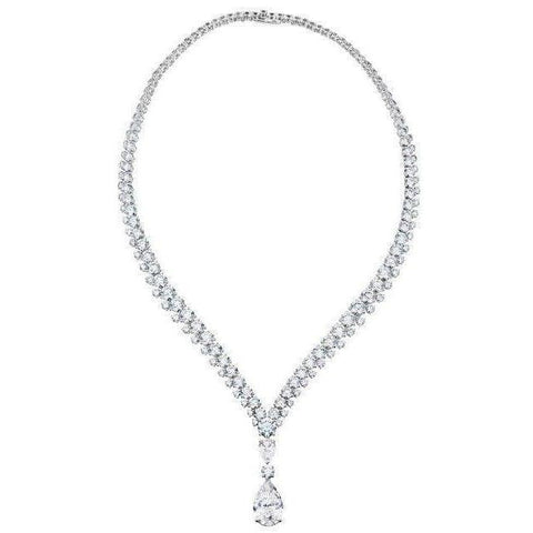 White Gold 14K Ladies Pear With Round Cut 8.00 Carats Diamond Necklace Necklace