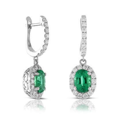 White Gold 14K Lady Dangle Earrings 9.00 Ct Emerald And Diamonds Gemstone Earring