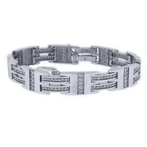White Gold 14K Men Bracelet 3.5 Carats Round Cut Diamond Mens Bracelet