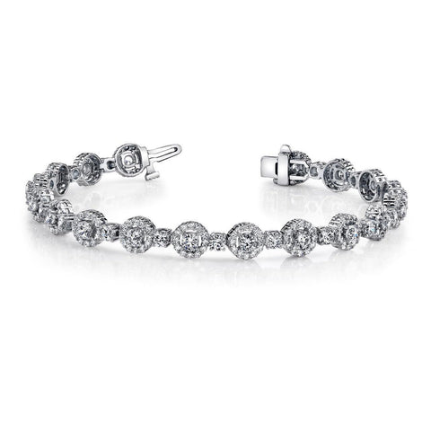 White Gold 14K New 13.75 Ct Sparkling Diamonds Bracelet Circle Link Tennis Bracelet