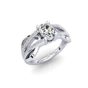White Gold 14K Oval And Round Cut Sparkling 2 Carats Diamond Engagement Ring Engagement Ring
