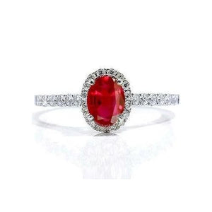 White Gold 14K Oval Ruby Diamond Ring Lady Men Jewelry 3.70 Ct. Gemstone Ring