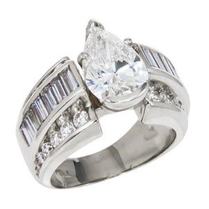 White Gold 14K Pear Cut Center 6.01 Carats Big Huge Diamond Ring Baguettes On Shank Ring