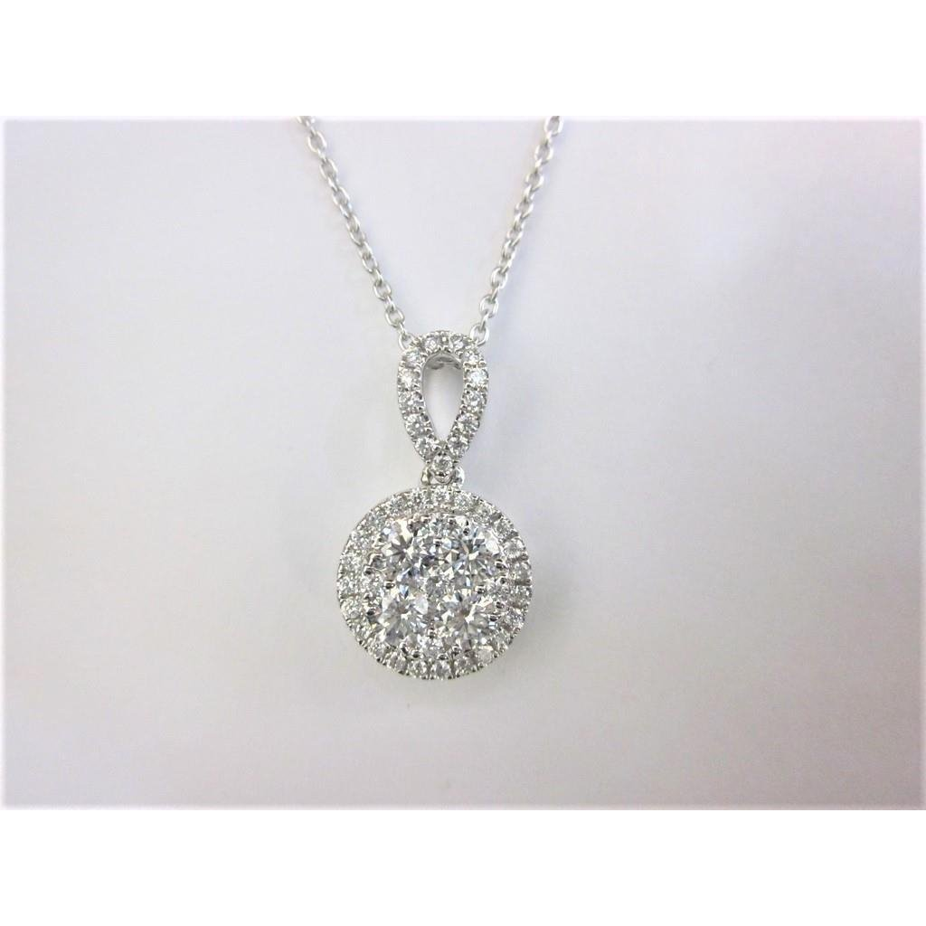 White Gold 14K Pendant Necklace With Chain 2 Carats Round Cut Pendant