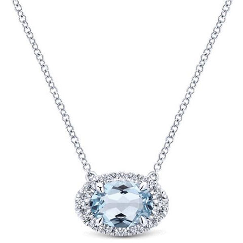 White Gold 14K Pendant With Chain 11.75 Ct Aquamarine And Diamonds Gemstone Pendant