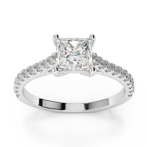 White Gold 14K Princess Cut With Round Diamond Ring 2.25 Carats Solitaire With Accents Solitaire Ring with Accents