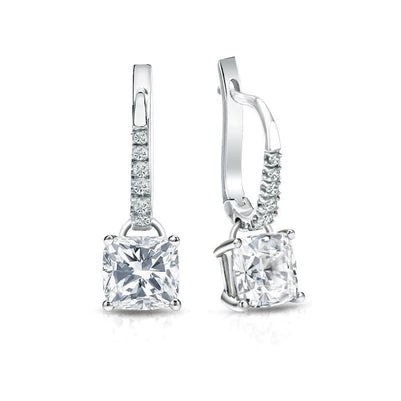 White Gold 14K Prong Set 3.50 Carats Diamonds Dangle Earrings New Dangle Earrings