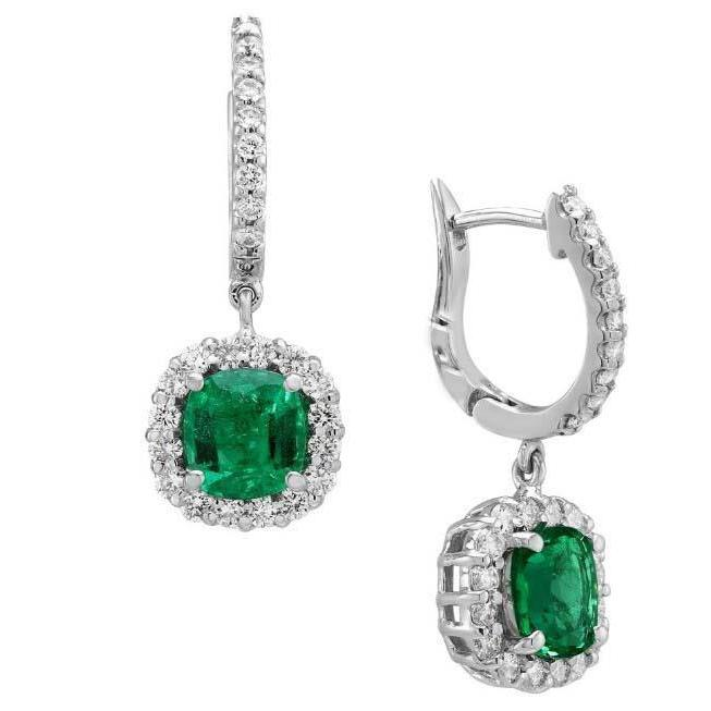 White Gold 14K Prong Set Emerald And Diamonds 5.00 Ct. Drop Earring Gemstone Earring