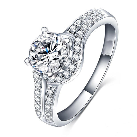 White Gold 14K Prong Set Round Cut 3.75 Carats Diamonds Ring New Ring