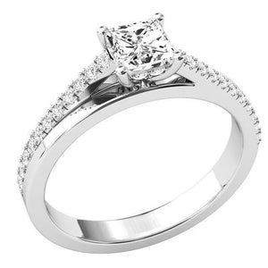 White Gold 14K Prong Setting Princess And Round Cut 2.50 Carats Diamonds Ring Ring