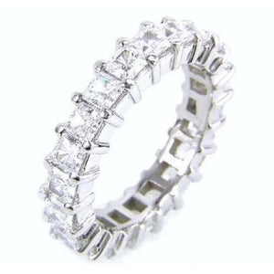 White Gold 14K Prong Setting Princess Cut Diamond Eternity Engagement Band Eternity Band