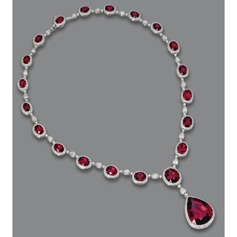 White Gold 14K Red Ruby With Diamonds 49.50 Carats Lady Necklace Gemstone Necklace