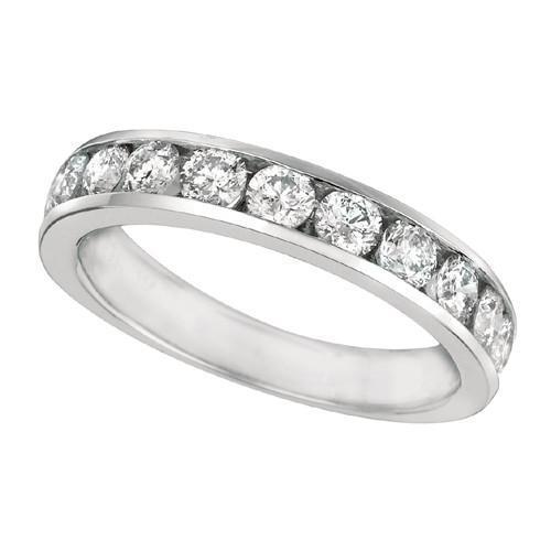 White Gold 14K Round Brilliant 1.25 Carat Diamond Channel Ring Band New Band