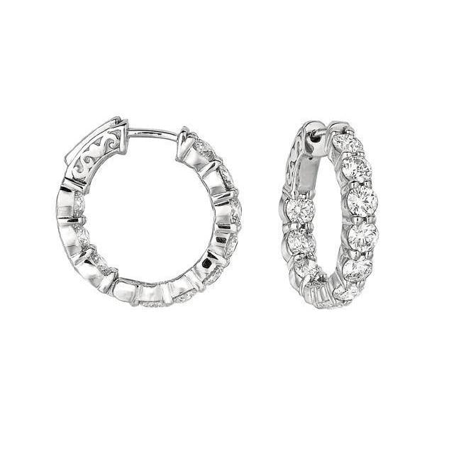 White Gold 14K Round Brilliant 4 Carat Diamond 20 Pointer Hoop Earring Jewelry Hoop Earrings