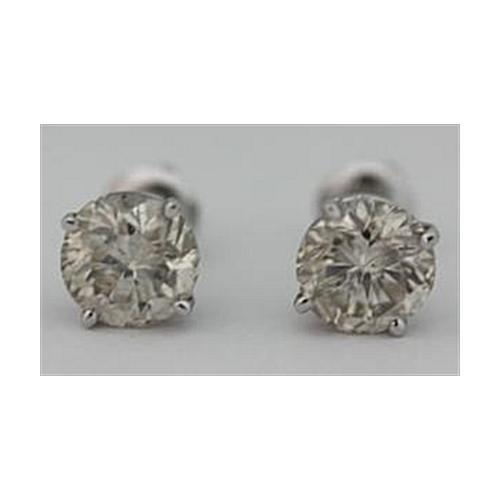 White Gold 14K Round Brilliant 4 Carat Diamonds Pair Studs Women Earring Stud Earrings