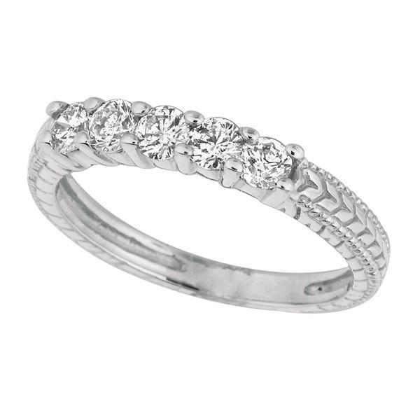 White Gold 14K Round Brilliant Diamond 0.50 Carat Diamond 5 Stones Ring Band New Half Eternity Band