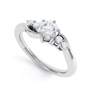 White Gold 14K Round Cut Five Stone 1.85 Carats Diamonds Engagement Ring Engagement Ring