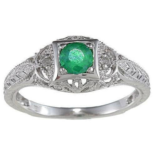 White Gold 14K Round Cut Green Emerald And Diamond Ring 6 Ct Gemstone Ring