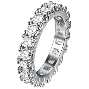 White Gold 14K Round Cut Prong Setting 7.00 Carats Diamond Engagement Eternity Band Eternity Band