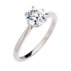 White Gold 14K Round Cut Six Prong Set 1.25 Carat Diamond Ring D Color Vs1 Clarity Ring