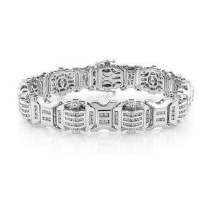 White Gold 14K Round Cut Small 4.50 Carats Diamonds Mens Bracelet Mens Bracelet