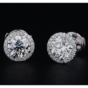 White Gold 14K Round Diamond Stud Earring 2.60 Carats Halo Style F Vs1 Vvs1 Halo Stud Earrings