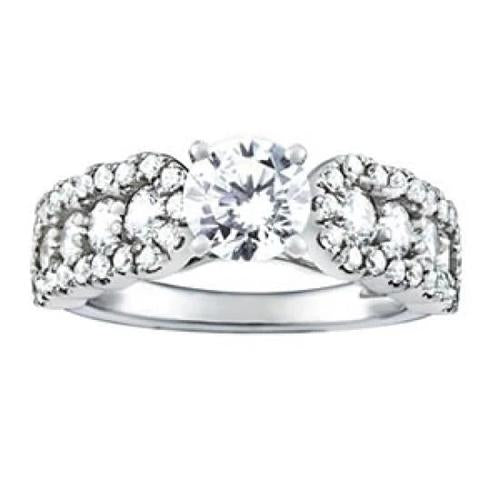 White Gold 14K Round Diamonds 1.50 Carats Solitaire With Accents Fancy Ring Solitaire Ring with Accents