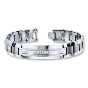 White Gold 14K Round Shaped Diamond Bracelet Men Jewelry 1.05 Carats Mens Bracelet