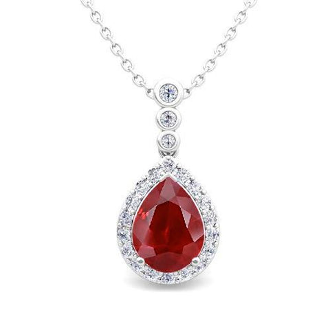 White Gold 14K Round Shaped Diamond With Pear Shape Red Ruby Gem-Stone Pendant Necklace Gemstone Pendant