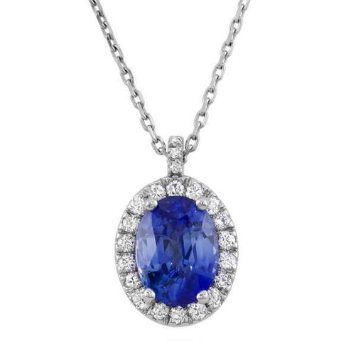 White Gold 14K Sapphire And Diamonds 3.70 Carats Pendant Gemstone Pendant