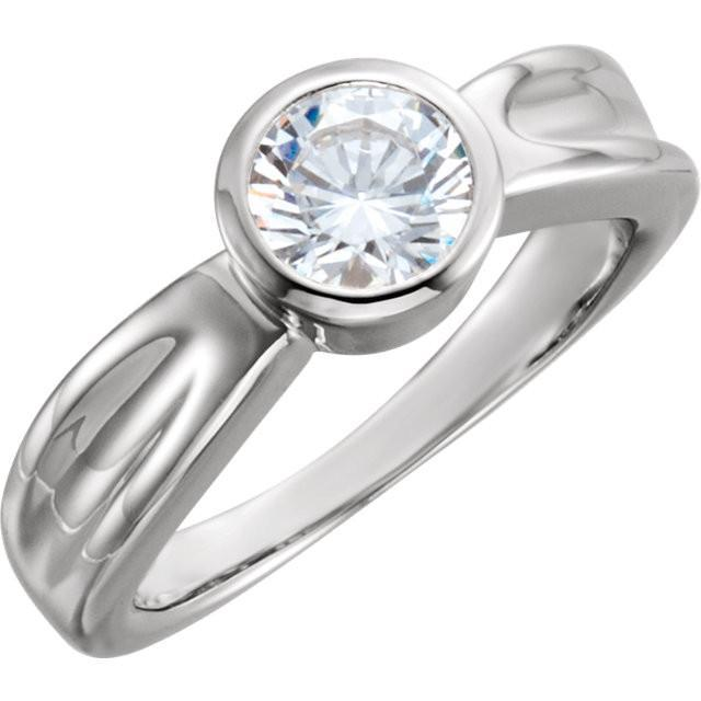 White Gold 14K Solitaire Diamond Men Women Ring Size 8 Solitaire Ring