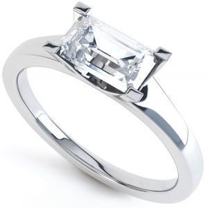 White Gold 14K Solitaire Emerald Cut 1.50 Carat Diamond Engagement Ring Solitaire Ring