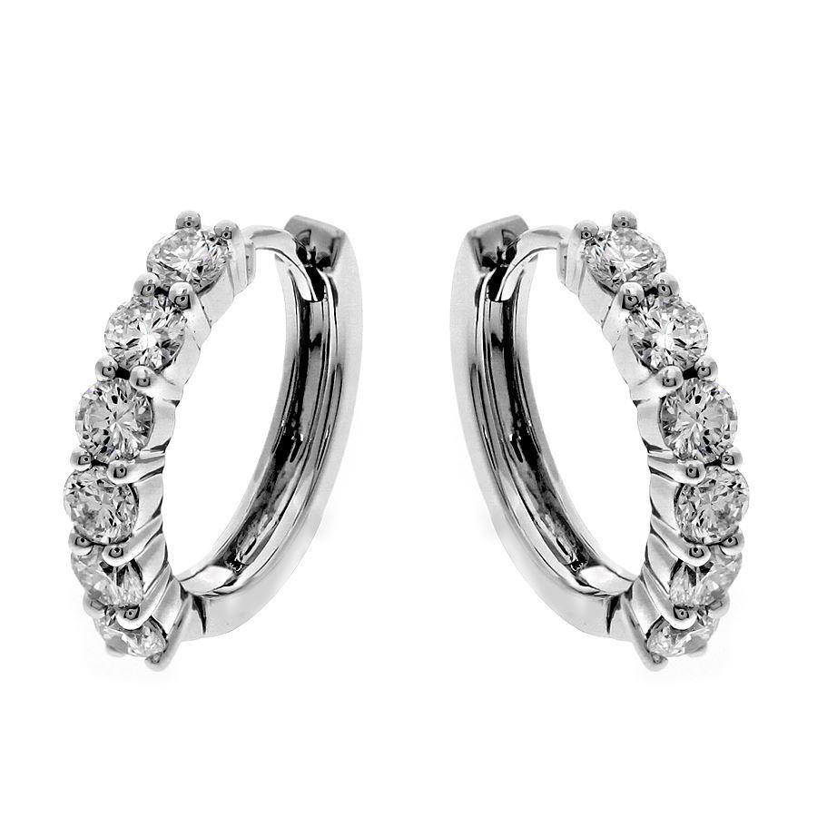 White Gold 14K Sparkling 3.00 Carats Diamonds Ladies Hoop Earrings Hoop Earrings