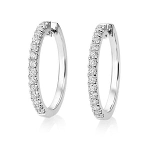 White Gold 14K Sparkling 4.30 Carats Diamonds Ladies Hoop Earrings Hoop Earrings